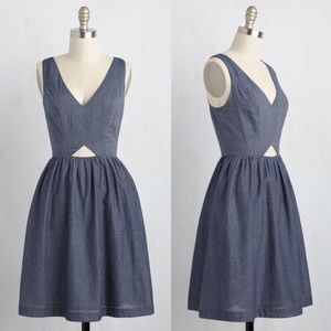 ModCloth Chambray Polka Dot Cut Out Dress